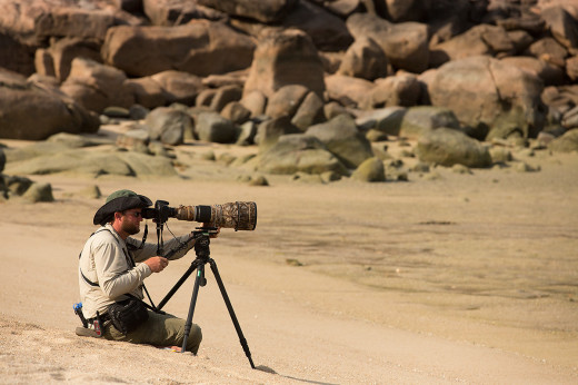 Drew films shorebirds on Hawkesbury Island in the Torres Strait, Australia. Photograph by Tim Laman